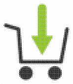 Add To Basket Halftone Vector Pictogram. Illustration Style Is Dotted Iconic Add To Basket Icon Symb poster