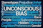 Unconscious Bias Word Cloud on Blue Background poster