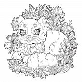 Page For Coloring With A Kitten. Coloring Book For Kids And Adults. Outline Drawing In The Style Of  poster