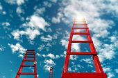 Business Development Motivation Career Growth Concept. Red Staircase Rests Against Blue Sky And Clou poster