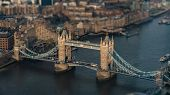 aerial view of the London Tower Bridge with intentional Tilt-Shift-Blur, London, Great Britain poster