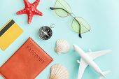Vacation Travel Adventure Trip Concept. Minimal Simple Flat Lay With Plane Passport Sunglasses Compa poster