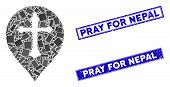 Mosaic Christian Cross Marker Pictogram And Rectangle Pray For Nepal Stamps. Flat Vector Christian C poster