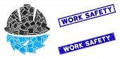 Mosaic Circular Blade Safety Icon And Rectangle Work Safety Seals. Flat Vector Circular Blade Safety poster