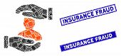 Mosaic Patient Insurance Pictogram And Rectangular Insurance Fraud Stamps. Flat Vector Patient Insur poster