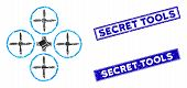 Mosaic Quadcopter Pictogram And Rectangle Secret Tools Seal Stamps. Flat Vector Quadcopter Mosaic Pi poster