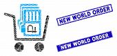 Mosaic Transfer Rouble Accounts Icon And Rectangular New World Order Rubber Prints. Flat Vector Tran poster