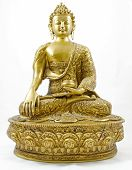 foto of gautama buddha  - A Statue of Gautama Buddha also known as the Enlightened one set on a white background - JPG