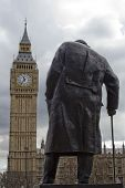 Silhouette Of Winston Churchill Statue, Westminter, London, England