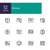 Browser Line Icon Set. Window, Settings, Homepage. Internet Concept. Can Be Used For Topics Like Web poster