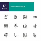 Constitutional State Line Icon Set. Political, Document, Paper. Court Concept. Can Be Used For Topic poster