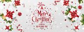 Red Christmas And New Year Text On Xmas Background With Gift Boxes, Fir Branches, Red Ribbon, Decora poster