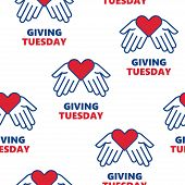 Vector Seamless Pattern. Giving Tuesday. Helping Hand With Heart Shape. Global Day Of Charitable Giv poster