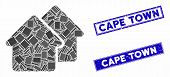 Mosaic Village Icon And Rectangular Cape Town Watermarks. Flat Vector Village Mosaic Icon Of Scatter poster