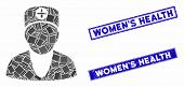 Mosaic Medic Pictogram And Rectangle Womens Health Stamps. Flat Vector Medic Mosaic Pictogram Of Ran poster