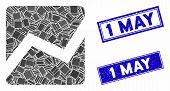 Mosaic Analytics Chart Icon And Rectangular 1 May Seal Stamps. Flat Vector Analytics Chart Mosaic Ic poster