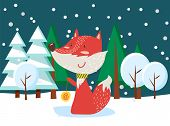 Fox Standing Near Snowy Trees. Dark View In Forest, Furry Animal Standing Near Fir-tree With Snowfla poster