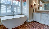 Luxury bathroom with large white tub, beautiful cabinets, and shiplap walls. poster