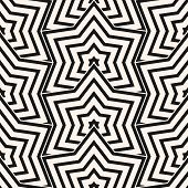 Vector Monochrome Geometric Seamless Pattern With Stars, Thin Lines, Grid. Simple Black And White Ge poster