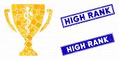 Mosaic Medical Prize Cup Icon And Rectangular High Rank Rubber Prints. Flat Vector Medical Prize Cup poster