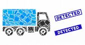 Mosaic Truck Pictogram And Rectangle Detected Seals. Flat Vector Truck Mosaic Pictogram Of Randomize poster