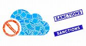 Mosaic Disabled Cloud Pictogram And Rectangle Sanctions Rubber Prints. Flat Vector Disabled Cloud Mo poster