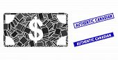 Mosaic Dollar Banknote Pictogram And Rectangle Authentic Canadian Seal Stamps. Flat Vector Dollar Ba poster