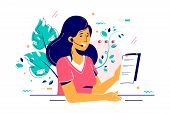 Consultant Woman In Headset With Paper Report Illustration. Smiling Worker Character Consulting Clie poster