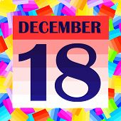 December 18 Icon. For Planning Important Day. Banner For Holidays And Special Days. Eighteenth Of De poster