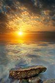 Large Stone, Sea, Sunset