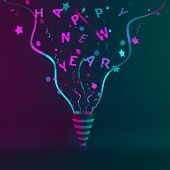 Happy New Year 2020 Background, Party Popper Cone And Glittering Confetti On Green Purple Gradient,  poster