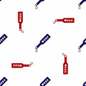 Blue And Red Spanking Paddle Icon Isolated Seamless Pattern On White Background. Fetish Accessory. S poster