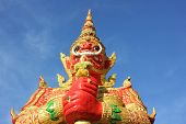 Big Giant In The Temple Bangkok Thailand,beautiful Giant With Buddha,blue Sky poster