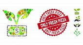 Mosaic Eco Startup Gain Icon And Grunge Stamp Seal With Only Fresh Pizza Caption. Mosaic Vector Is C poster