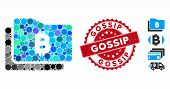 Mosaic Bitcoin Purse Icon And Rubber Stamp Seal With Gossip Phrase. Mosaic Vector Is Created With Bi poster
