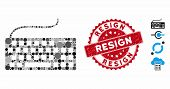 Mosaic Wired Keyboard Icon And Rubber Stamp Seal With Resign Text. Mosaic Vector Is Composed With Wi poster