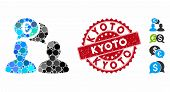 Mosaic Euro Chat Icon And Rubber Stamp Watermark With Kyoto Caption. Mosaic Vector Is Composed With  poster