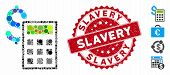 Collage Accounting Icon And Rubber Stamp Seal With Slavery Text. Mosaic Vector Is Designed With Acco poster