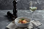Rice Noodles With Shrimps And Seafood, Spicy Asian Style Noodles In Bowl. poster
