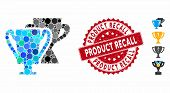 Mosaic Trophy Cups Icon And Rubber Stamp Watermark With Product Recall Phrase. Mosaic Vector Is Comp poster