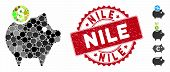 Mosaic Piggy Bank Icon And Rubber Stamp Watermark With Nile Caption. Mosaic Vector Is Created With P poster