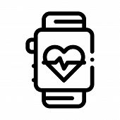 Heart Rate Counter Icon Vector. Outline Heart Rate Counter Sign. Isolated Contour Symbol Illustratio poster