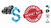 Mosaic Cloud Banking Icon And Distressed Stamp Seal With Hervey Bay Phrase. Mosaic Vector Is Designe poster