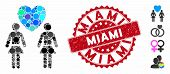 Mosaic Lesbi Love Pair Icon And Rubber Stamp Seal With Miami Text. Mosaic Vector Is Created With Les poster