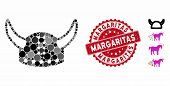 Mosaic Horned Helmet Icon And Grunge Stamp Watermark With Margaritas Phrase. Mosaic Vector Is Compos poster