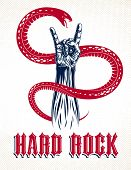 Rock Hand Sign With Aggressive Snake, Hot Music Rock And Roll Gesture And Serpent, Hard Rock Festiva poster