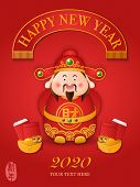 2020 Chinese New Year Design Cute Cartoon God Of Wealth And Golden Ingot Red Envelope. Chinese Trans poster
