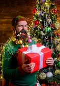 Bearded Santa Claus With Christmas Gift. Merry Christmas And Happy New Year. Funny Wintertime. Chris poster