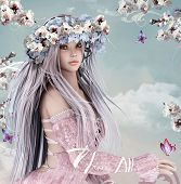 Blossom Girl, A Beautiful Lady Portrait As A Symbol Of Springtime - 3d Illustration poster