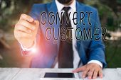 Conceptual Hand Writing Showing Convert Customer. Business Photo Text The Percentage Of Visitors Who poster